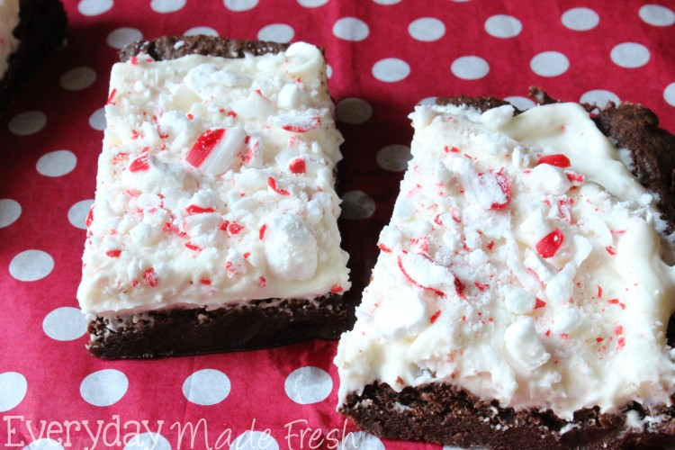Frosted Peppermint Brownies   OHMY-CREATIVE.COM   Mint Brownies   Brownies with Mint Frosting   Peppermint Icing   Candy Cane Brownies