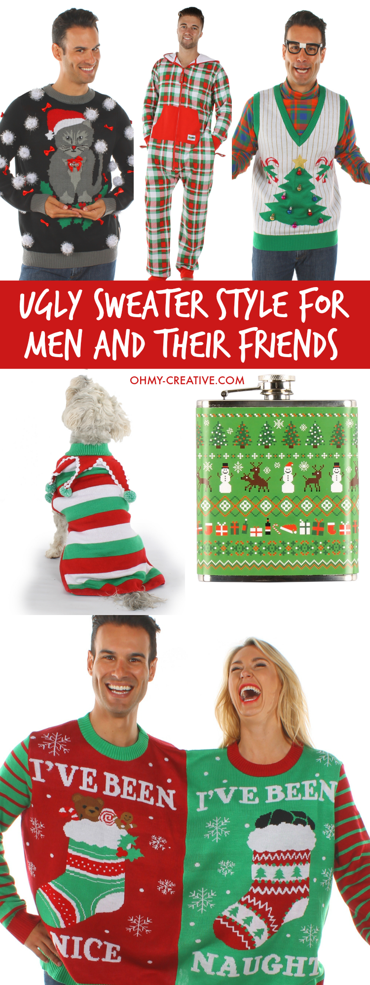 Ugly Christmas Sweater Style For Men And Their Friends! Be hot, hip and hilarious with these Ugly Christmas Sweater Party Looks from head to toe! Fun accessories too! | OHMY-CREATIVE.COM