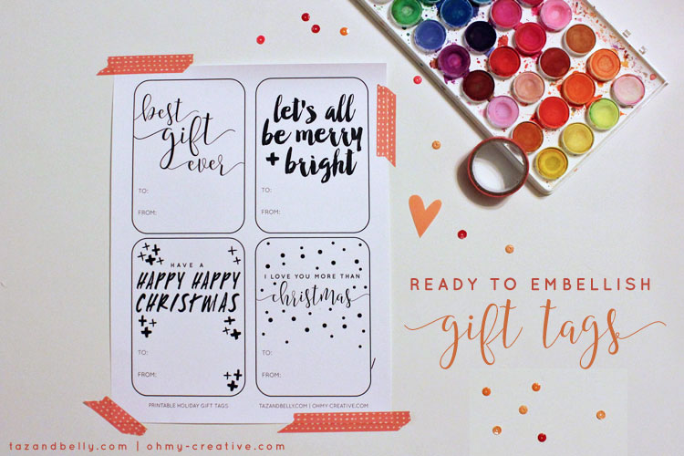 These free printable gift tags are a blank slate. Use watercolors, glitter and sparkly ribbon to add glitz and glimmer to every christmas package. | OHMY-CREATIVE.COM