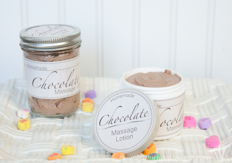 Celebrate Valentine's Day with your sweetheart with homemade chocolate massage lotion. Smells good enough to eat!  OHMY-CREATIVE.COM
