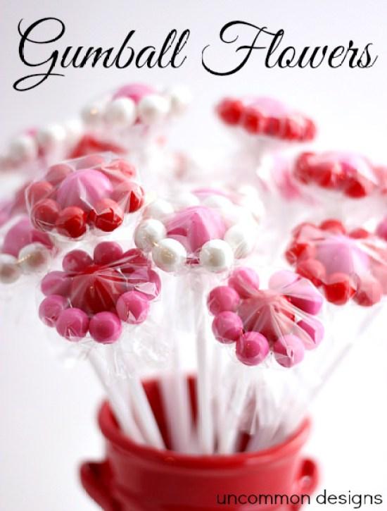 valentine treat gumball flowers