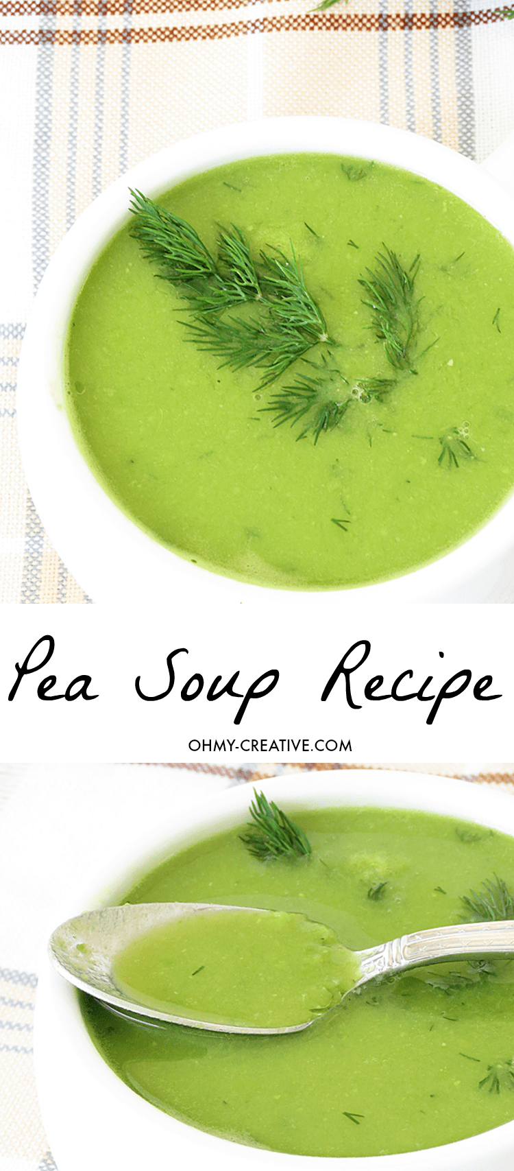 Green Pea Soup Recipe - creamy and simple pea soup made in under 40 minutes! I Ilona's Passion for OHMY-CREATIVE.COM
