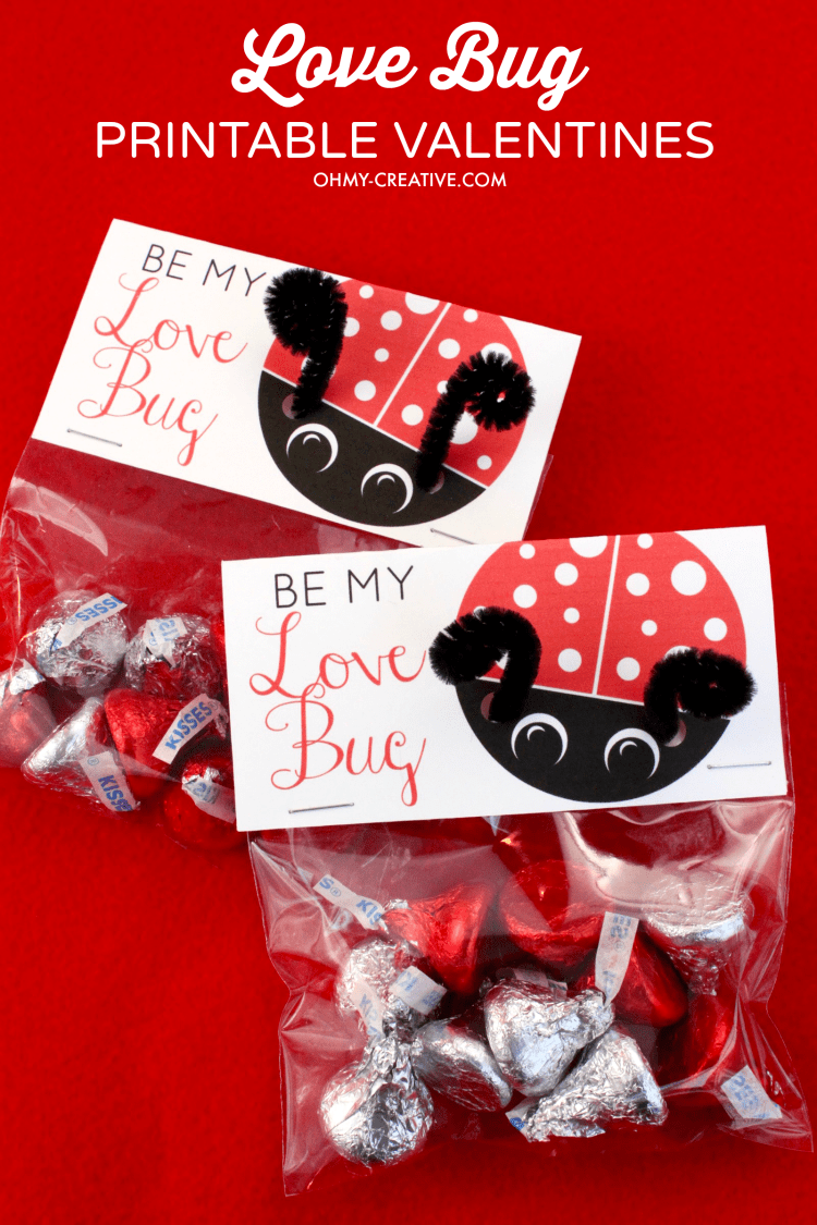 These Love Bug Printable Valentine's Day Cards are easy to make! What great Valentine's Day Treat Bag Toppers! Print them for free and in a few simple steps you have an adorable Valentine Treat! How cute are the pipe cleaner bug antennas! | OHMY-CREATIVE.COM