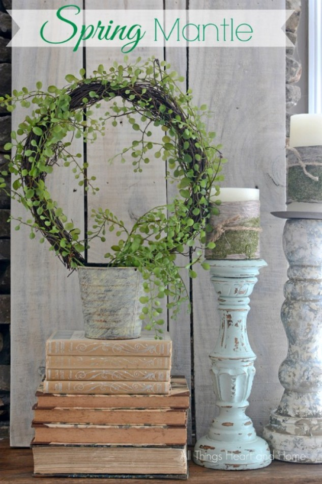 How to decorate a spring mantle