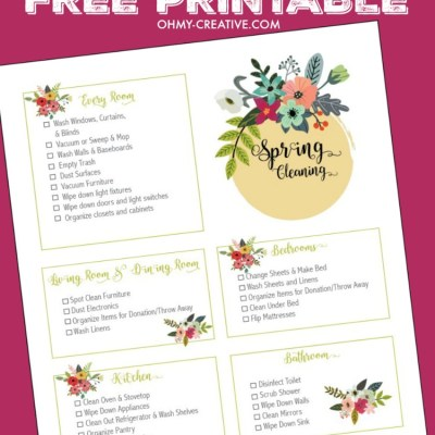 This Spring Cleaning Checklist Free Printable is a perfect way to check off and keep track of those dreaded cleaning chores. The pretty floral printable will help ease the pain of your cleaning schedule and keep you on task to make your home sparkle! | OHMY-CREATIVE.COM