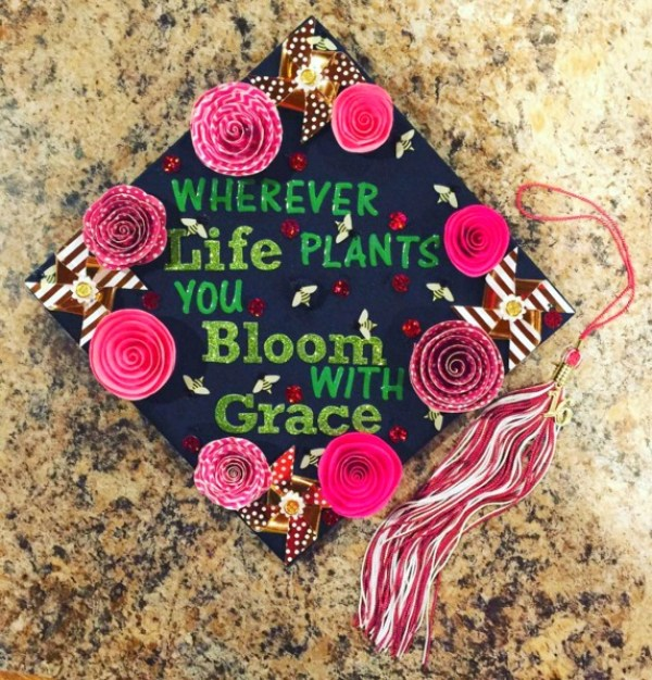 Graduation Quaotes and Cap Ideas | Wherever Life Plants you Bloom with Grace Graduation Hat | OHMY-CREATIVE.COM