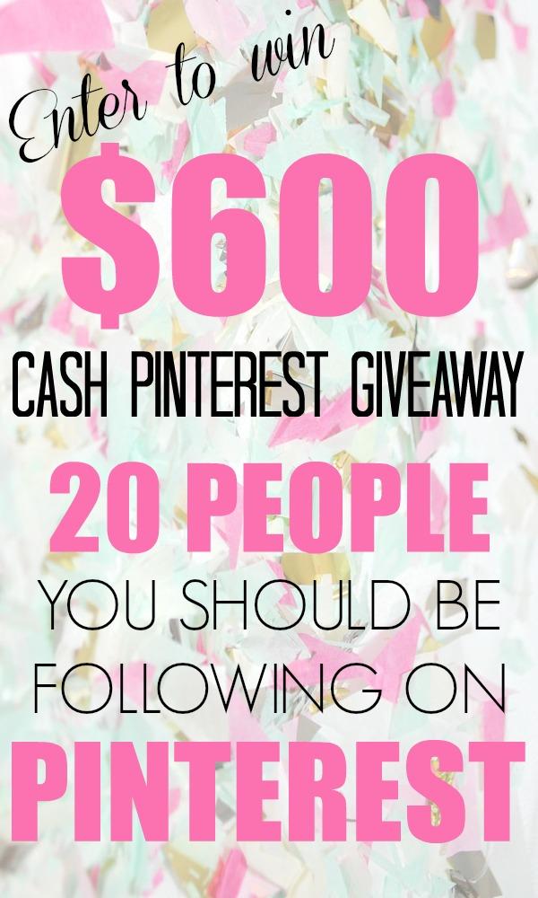 $600 Pinterest Cash Giveaway