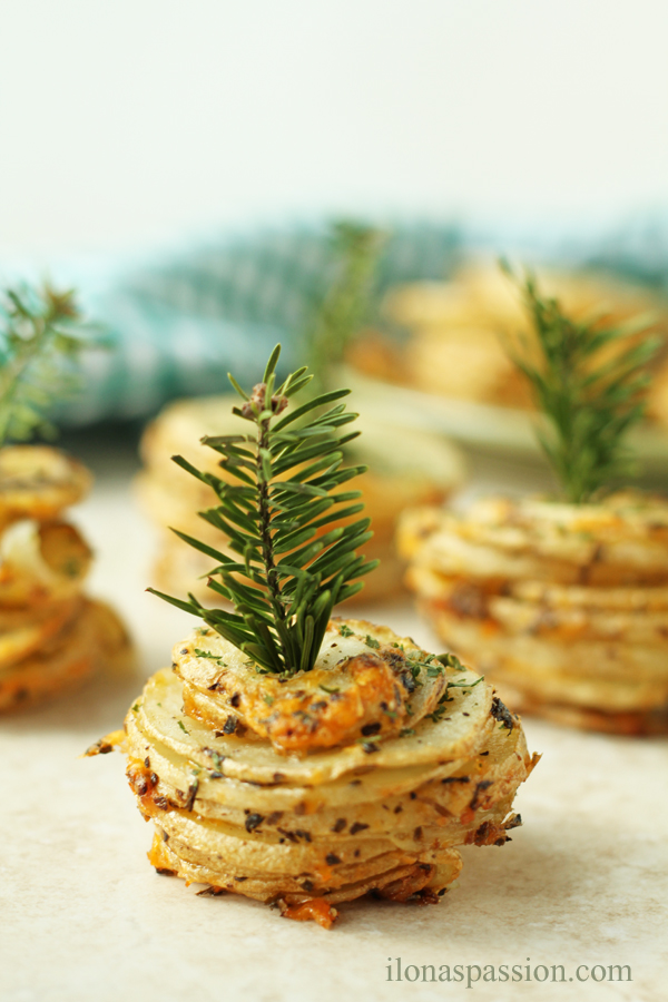 Basil and Cheddar Potato Stacks