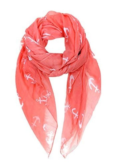 Rosemarie Collections Women's Light Weight Oblong Scarf Coral Anchor Print - Don't know what to get for mom this Mother's Day? Here are a few Pretty Gifts For Mom on Mother's Day she will love! | OHMY-CREATIVE.COM