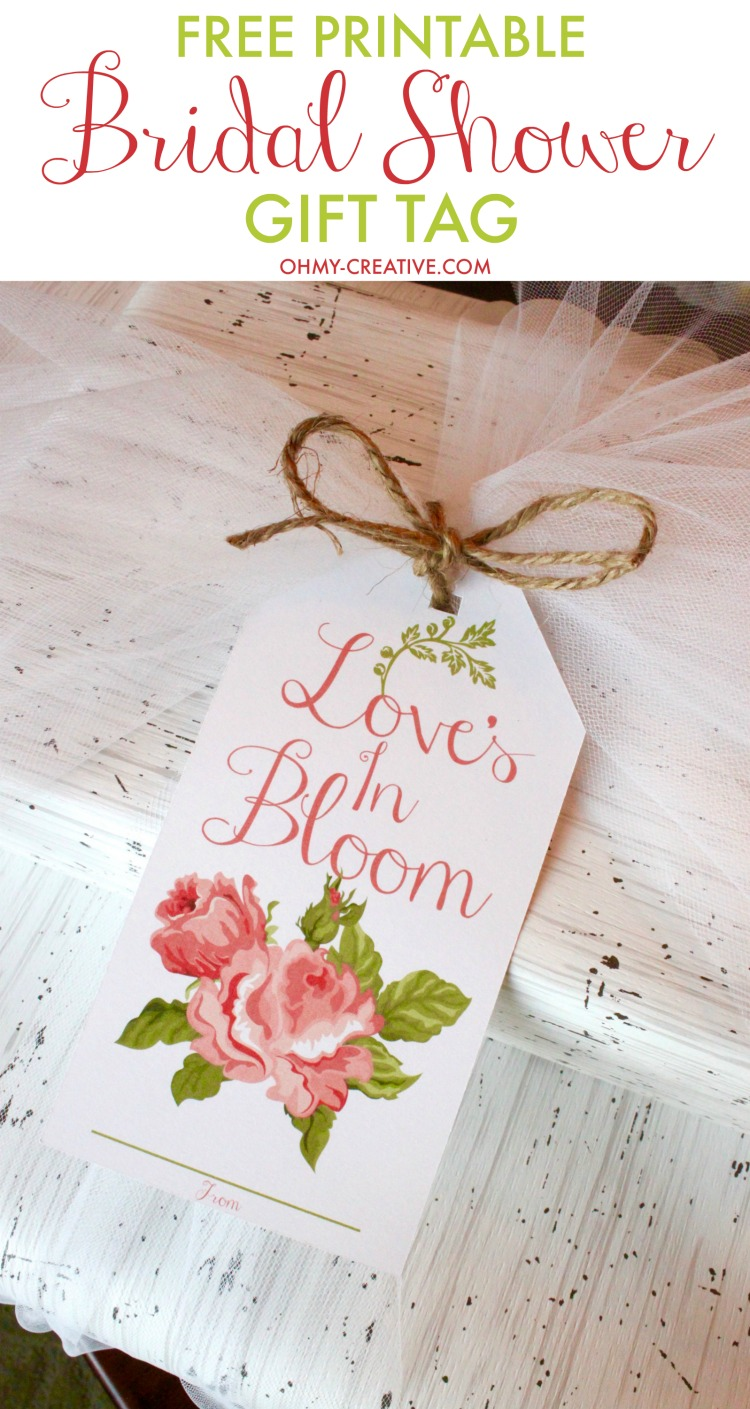 photograph regarding Printable Bridal Shower Cards titled Bridal Shower Printable Present Tag - Oh My Inventive