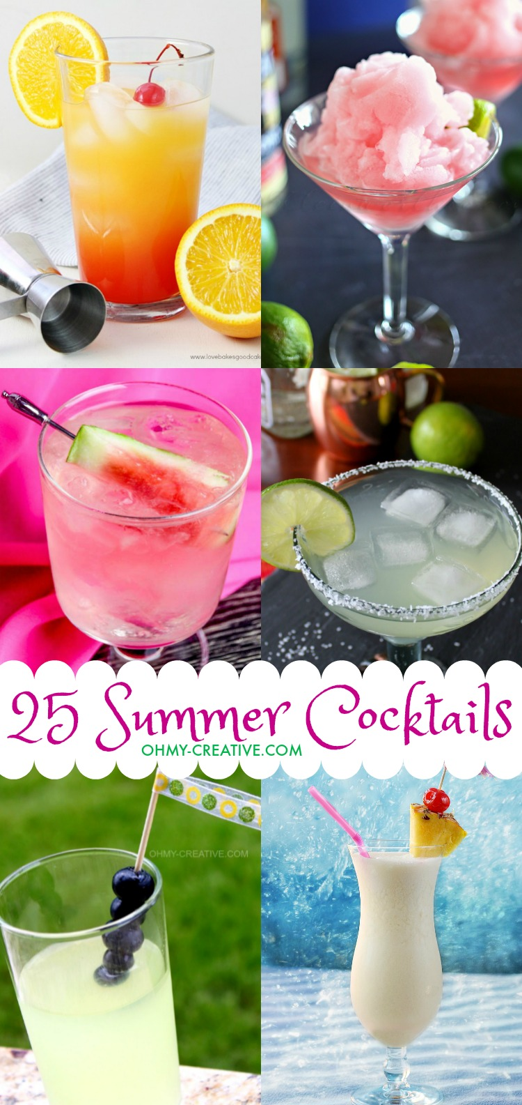Cool down summers sizzling days with these 25 Fun Summer Cocktails! Perfect summer drinks for parties, picnics or sipping on the patio! | OHMY-CREATIVE.COM | Fun Summer Cocktails | Summer Cocktails | Summer Alcoholic Drinks | Summer Drink Recipes #cocktails #summercocktails #drinks