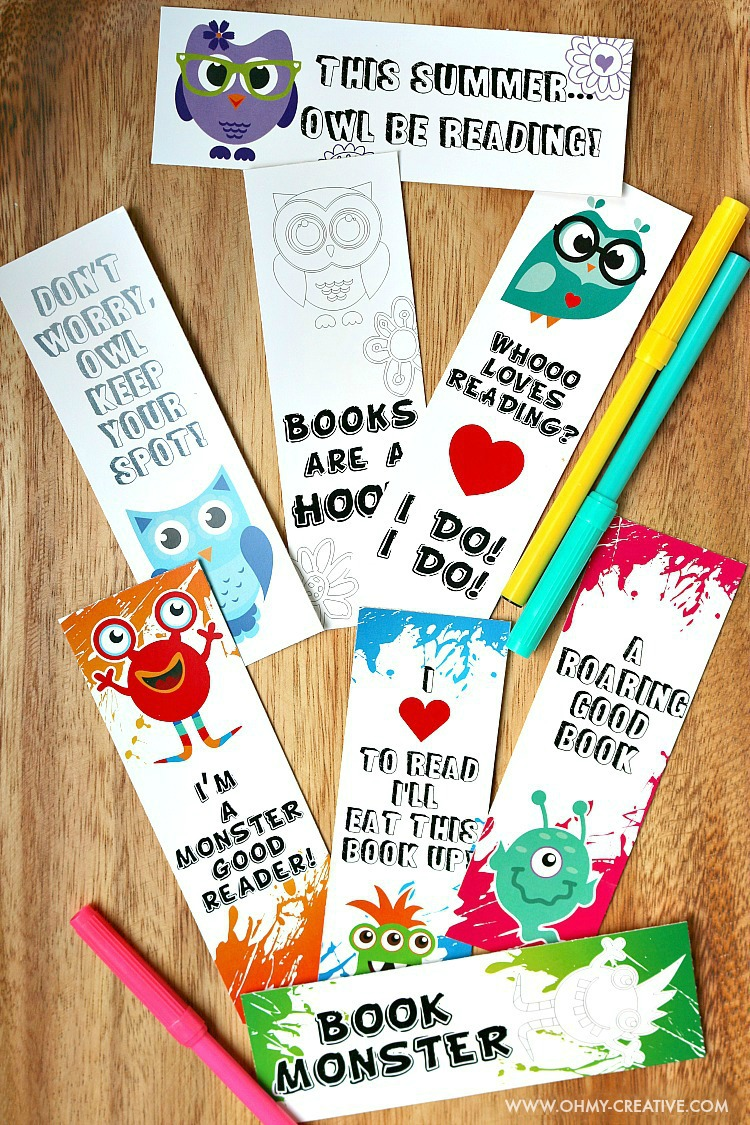 Printable Bookmark Coloring Pages for Kids - Oh My Creative