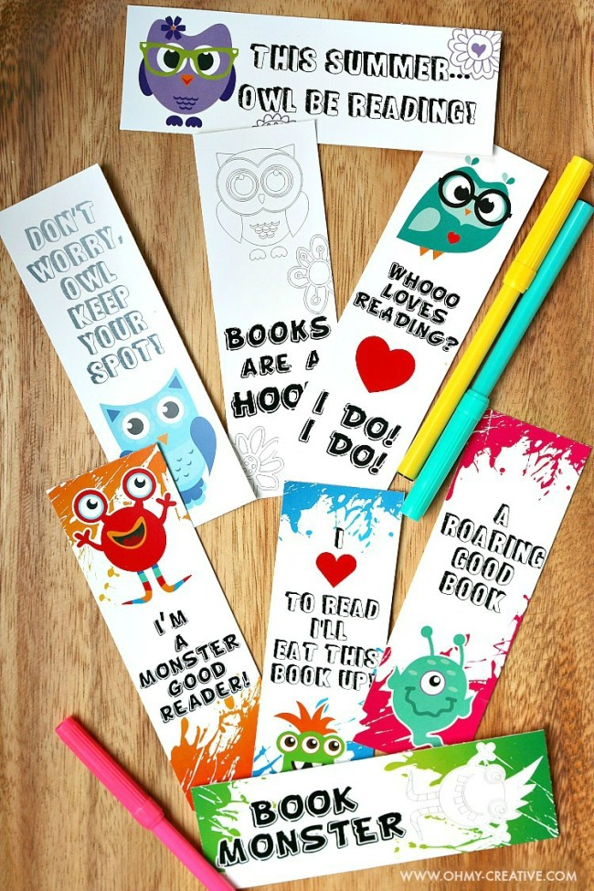 Use these adorable FREE PRINTABLE BOOKMARK COLORING PAGES to get the kids interested in reading and keep their place while they are reading a book from day to day. There are two set of coloring page bookmarks available: cute little monsters and fun adorable owls. Download and print one or both sets! | OHMY-CREATIVE.COM