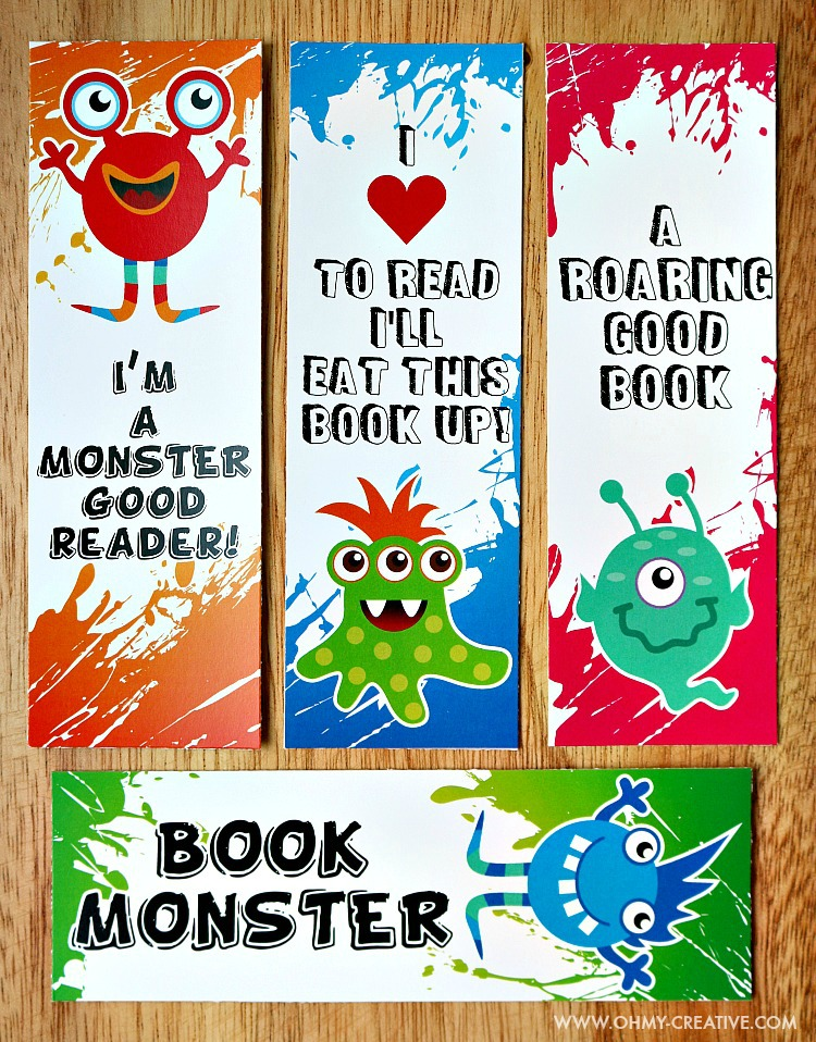coloring page bookmarks with silly monsters on them.