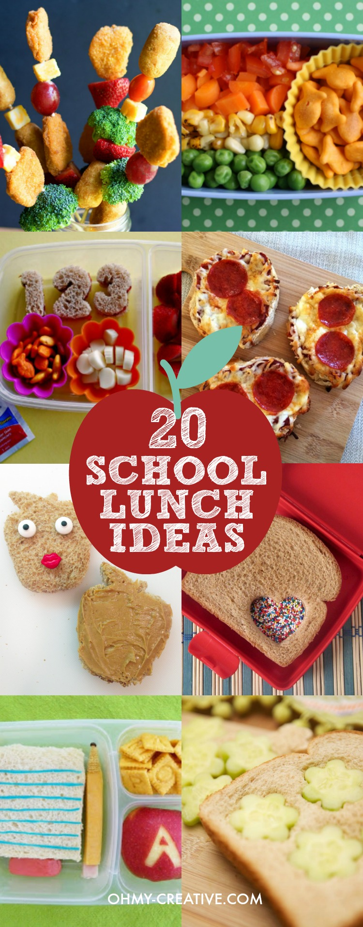 It can be such a drag to come up with new lunch ideas for school. Especially when it seems like you are making the same thing day after day. The kids get bored with them too! Here are 20 Creative School Lunch Ideas that will sure to be kid-pleasers - and as parents, we like them to have healthy school lunches! Popular pins by OHMY-CREATIVE.COM