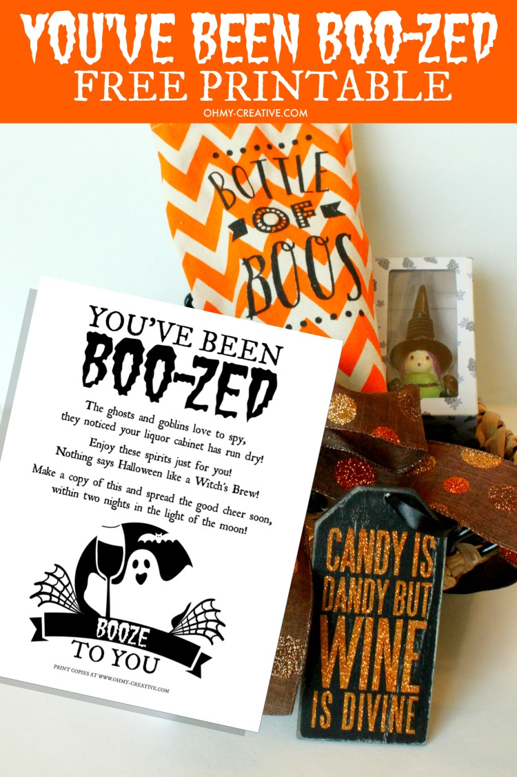 photo regarding You've Been Boozed Printable referred to as Youve Been Boo-zed Free of charge Printable - Oh My Artistic