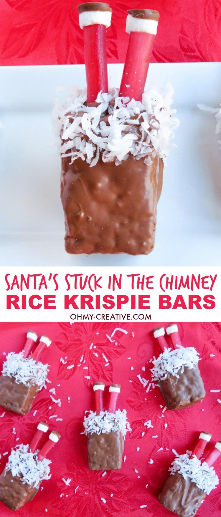 Santa's Stuck in the Chimney Rice Krispie Bars | OHMY-CREATIVE.COM | Rice Krispie Treats | Rice Crispy Treats | Christmas Rice Krispie Treats | Rice Krispie Treat Ideas | Santa Treat | Santa Dessert | Christmas Treat | Santa Legs Treat | Christmas Dessert