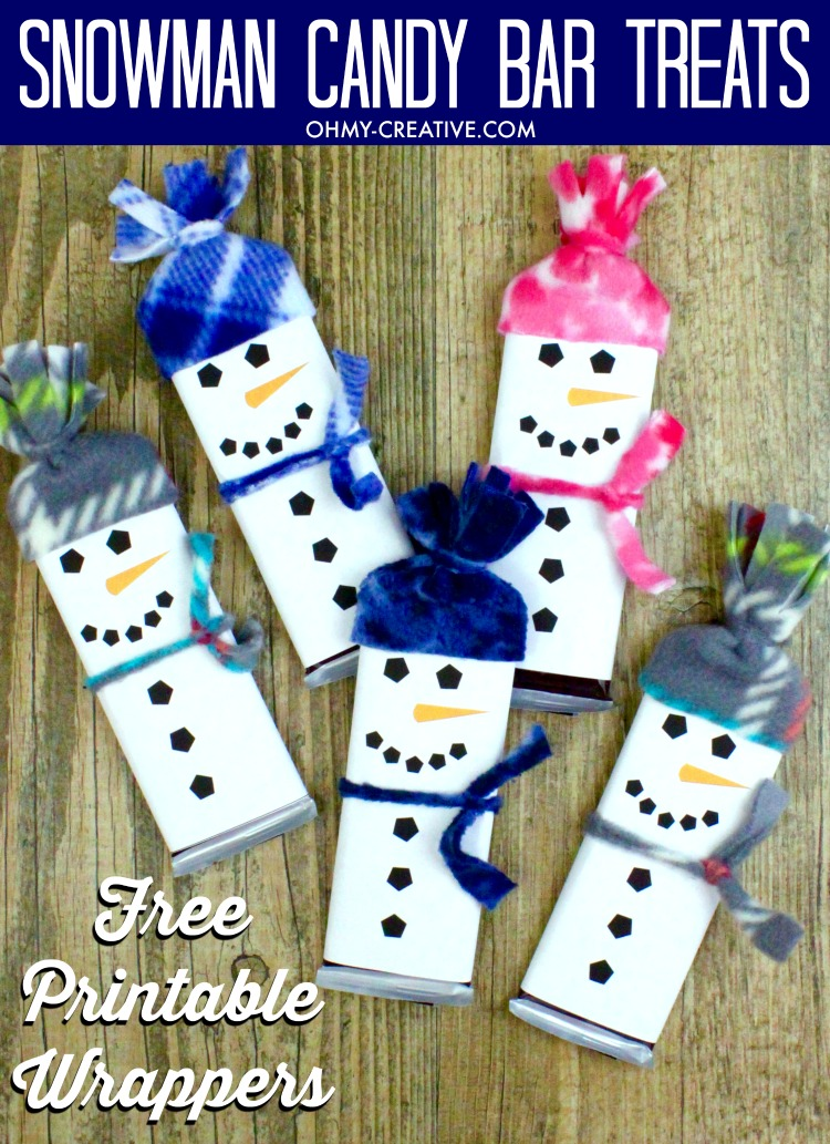 graphic about Snowman Candy Bar Wrapper Free Printable named Snowman Free of charge Printable Sweet Bar Wrapper Template - Oh My