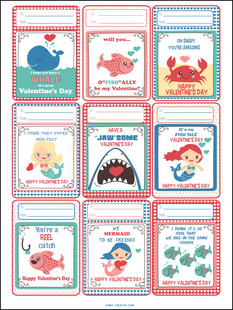 Adorable FREE UNDER THE SEA PRINTABLES for Valentine's Day. | OHMY-CREATIVE.COM | Valentine's Day Cards | Valentines | Preschool Valentines | Kindergarten Valentines | Free Printables | Ocean Printables | Mermaid Printables