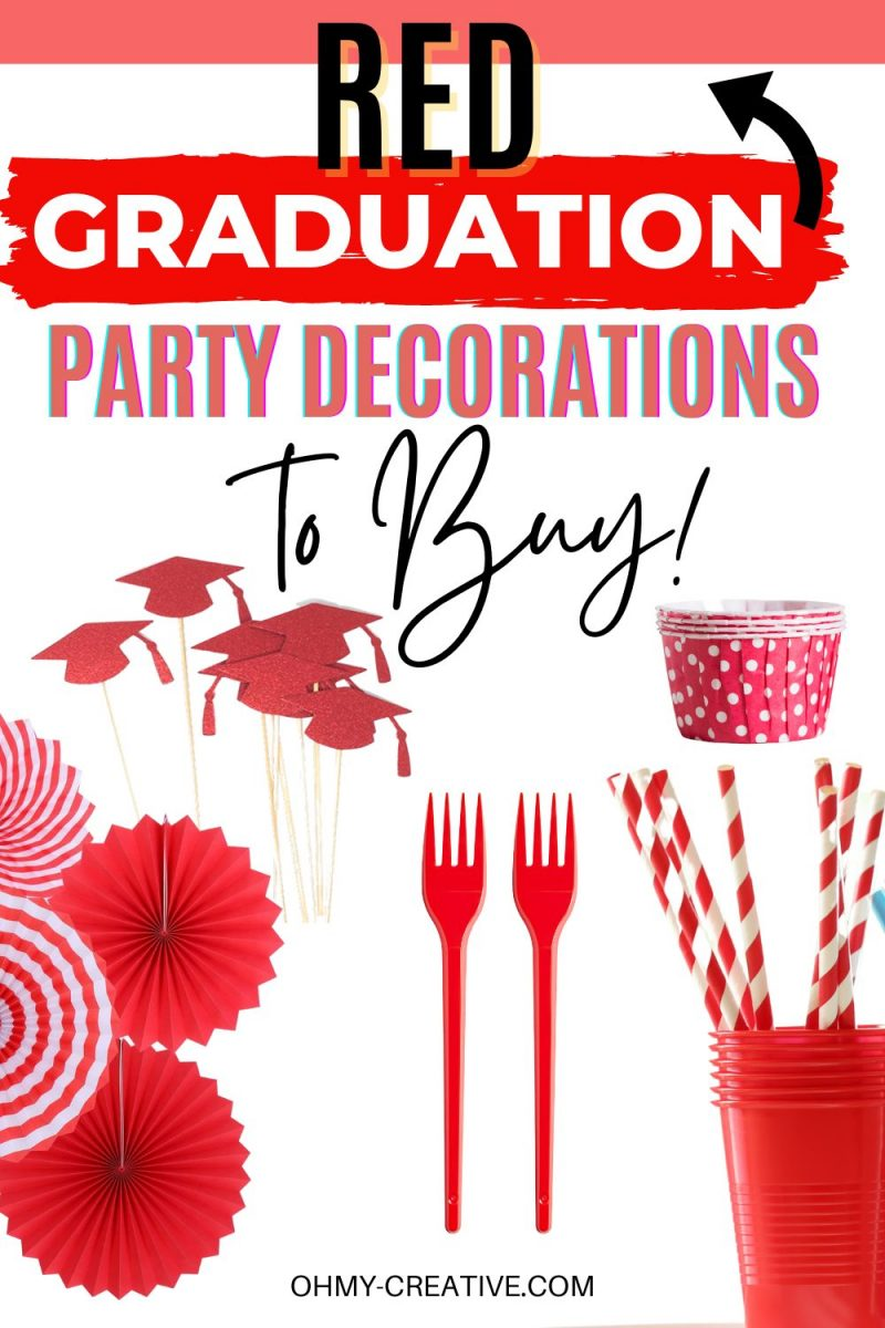Red Graduation Party Decorations to match your school colors. Find everything you need to decorate for a high school or collage graduation party in you child's school colors! Including plastic silverware, paper napkins, tissue paper pom poms, tissue paper pinwheels, paper straws, paper plates, and graduation party signs!