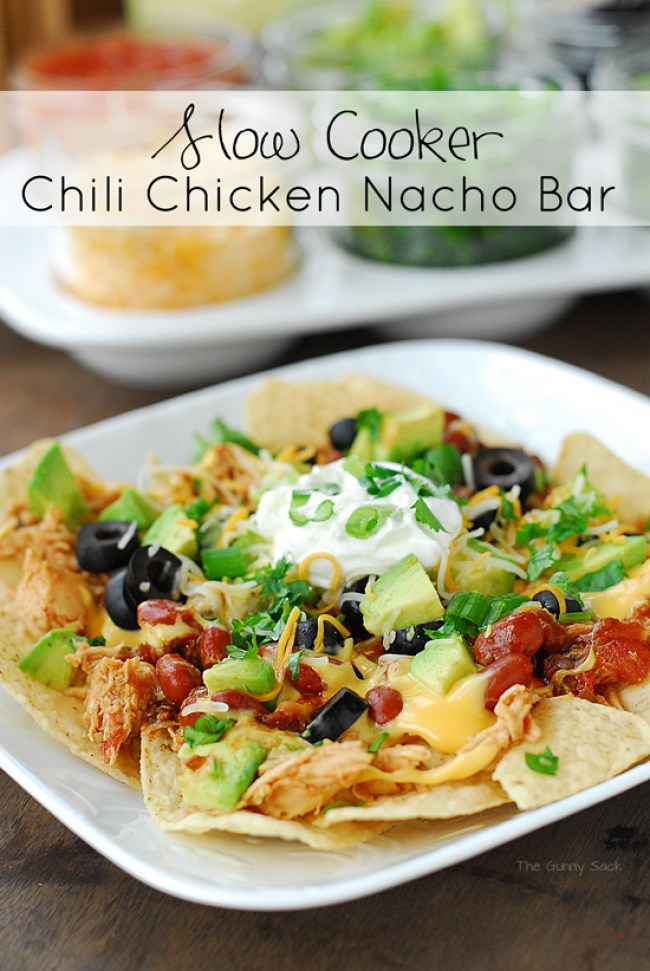Slow Cooker Chicken Chili Nacho Bar | 30 Graduation Party Food Ideas | OHMY-CREATIVE.COM