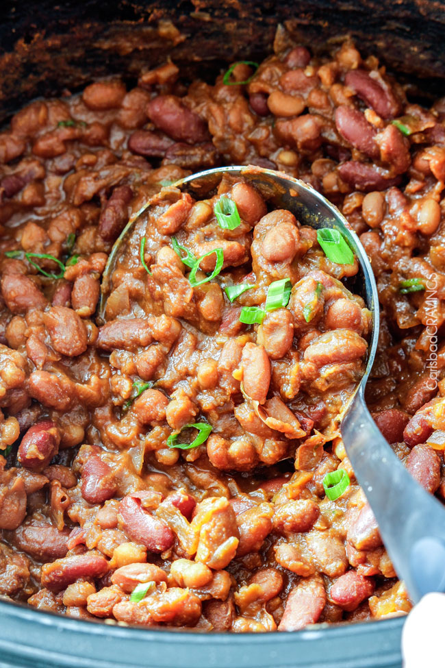 Slow Cooker Hawaiian Baked Beans | 30 Graduation Party Food Ideas | OHMY-CREATIVE.COM