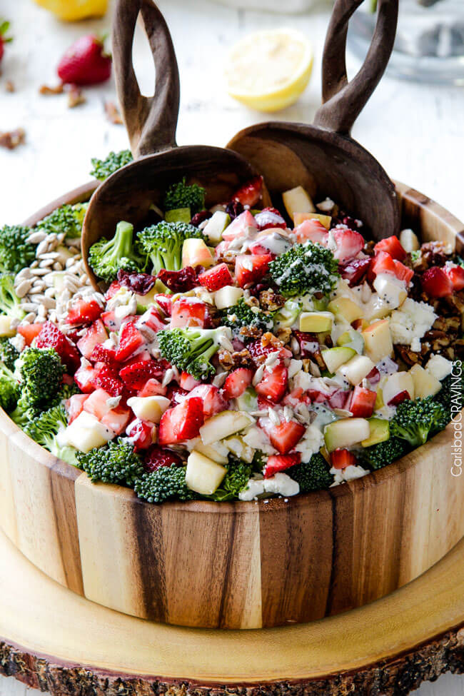 Strawberry Broccoli Salad | 30 Graduation Party Food Ideas | OHMY-CREATIVE.COM