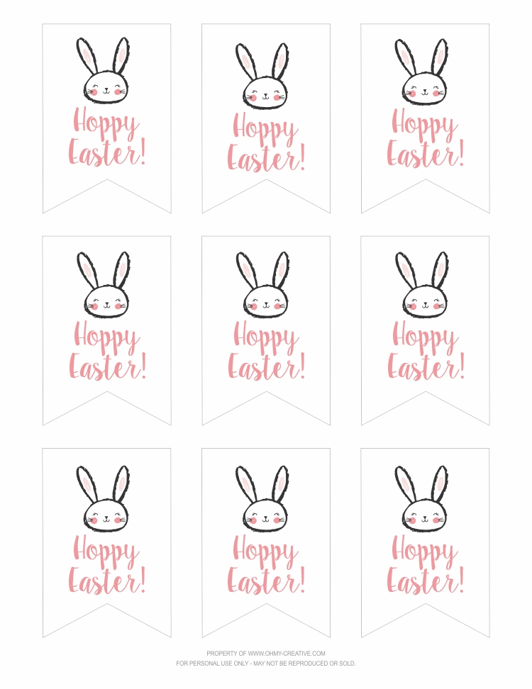 graphic about Gift Tag Printable Free titled No cost Printable Hoppy Easter Present Tags - Oh My Inventive