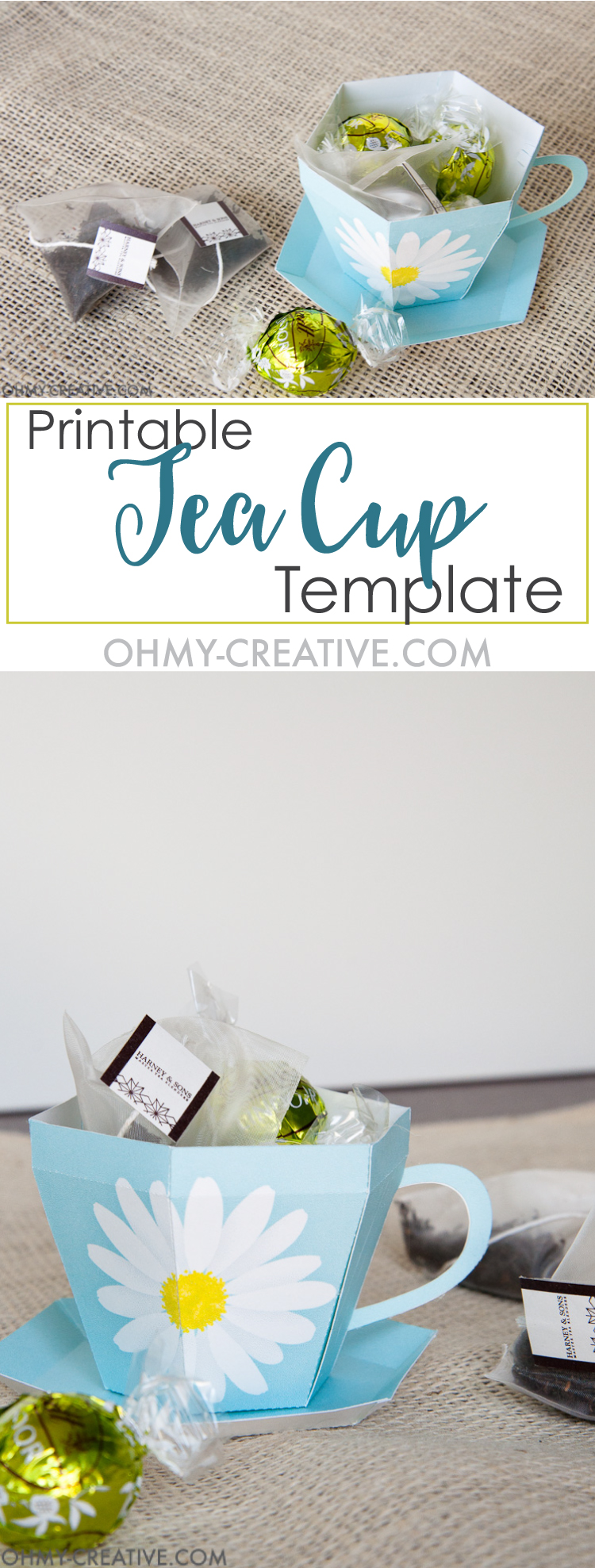 Create the perfect gift for spring with this Tea Cup Template. A tea cup gift for Mother's Day, Easter or Teacher Appreciation. OHMY-CREATIVE.COM | Paper Tea Cup | 3D Tea Cup | Tea Cup Gift | Spring Gift Ideas | Paper Tea Cup Template | Mother's Day Gift Idea | Teacher Appreciation Gift | Bridal Shower Favor