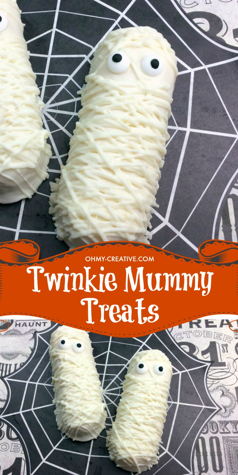 These Twinkie Mummy cakes are perfect Halloween Treats for a Party! OHMY-CREATIVE.COM | Halloween food | Halloween Dessert | Mummy Cakes | Twinkie Mummy Treats | Halloween Treats | Mummy Twinkie Pops | Twinkie Mummies | Mummy Halloween Dessert