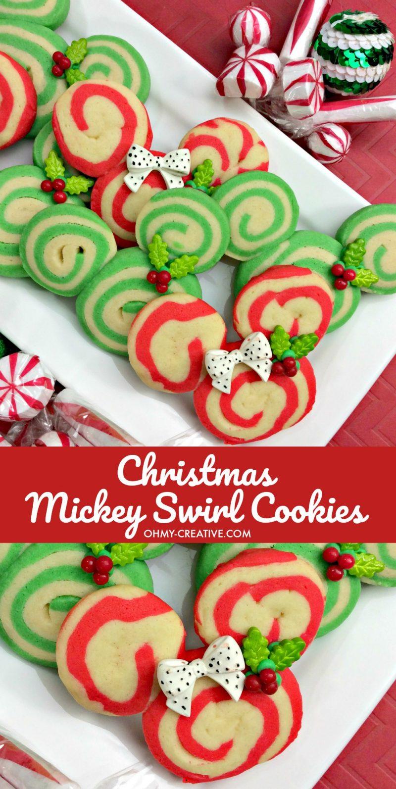 Mickey Christmas Swirl Cookies | OHMY-CREATIVE.COM | Pinwheel Cookies | Spiral Cookies | Pinwheel Recipes | cookie swirl | Swirl Sugar Cookies | Christmas Cookies | Mickey Mouse Cookies | Minnie Mouse Cookies | Disney Cookies