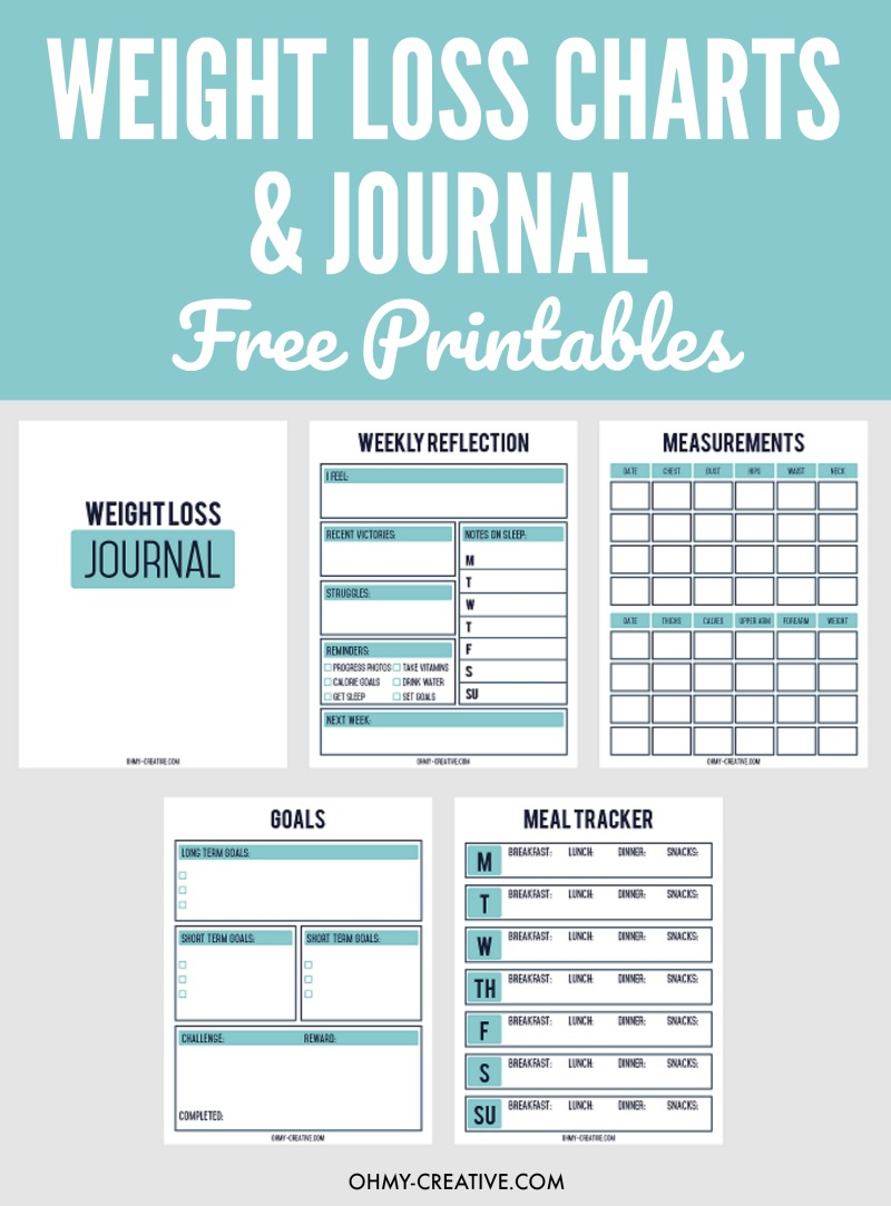 Weight Loss Chart | OHMY-CREATIVE.COM | Weight Loss Journal | Food Tracker | Food Diary | Food Journal | Food Log | Weight Loss Templet