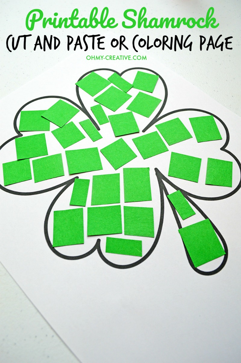 - Cut And Paste Shamrock Template Or Coloring Page - Oh My Creative