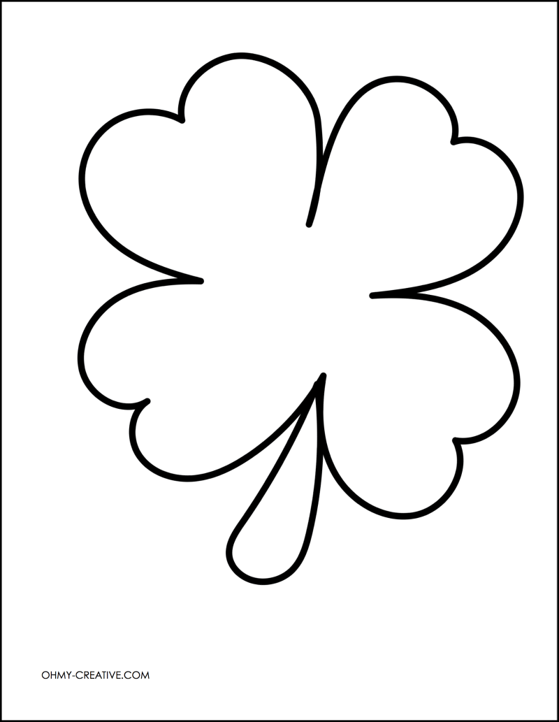 cut and paste shamrock template or coloring page oh my creative