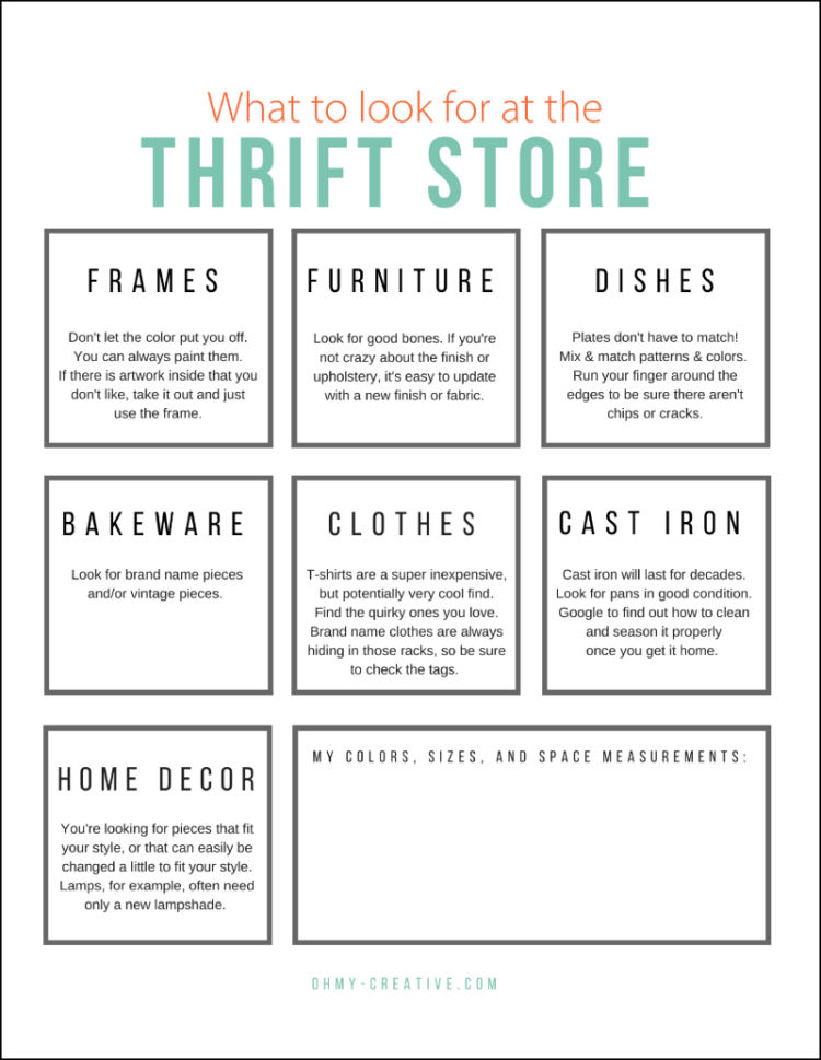 Thrift Store Shopping Guide Printable | OHMY-CREATIVE.COM | Goodwill Store | Thrifting | Goodwill Makeover | Free Printable List | Thrift Store List | Check List