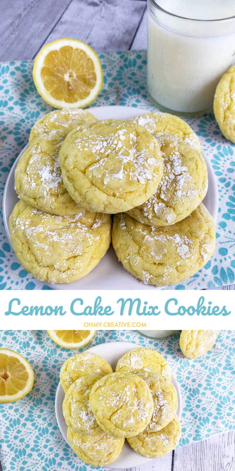 Easy Lemon Cake Mix Cookies Recipe | OHMY-CREATIVE.COM | Lemon Crinkle Cookies | Lemon Cookies | Easy Lemon Cookies | Lemon Cookie Recipe | Cake Mix Cookies | Lemon Crinkle Cookies with Cake Mix