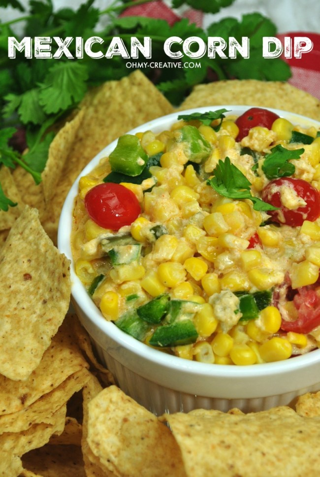 Mexican Corn Dip Recipe | OHMY-CREATIVE.COM | Corn Dip Cream Cheese | Corn Dip | Hot Corn Dip | Jalapeno Corn Dip #appetizer #corndip #Mexican #spicy
