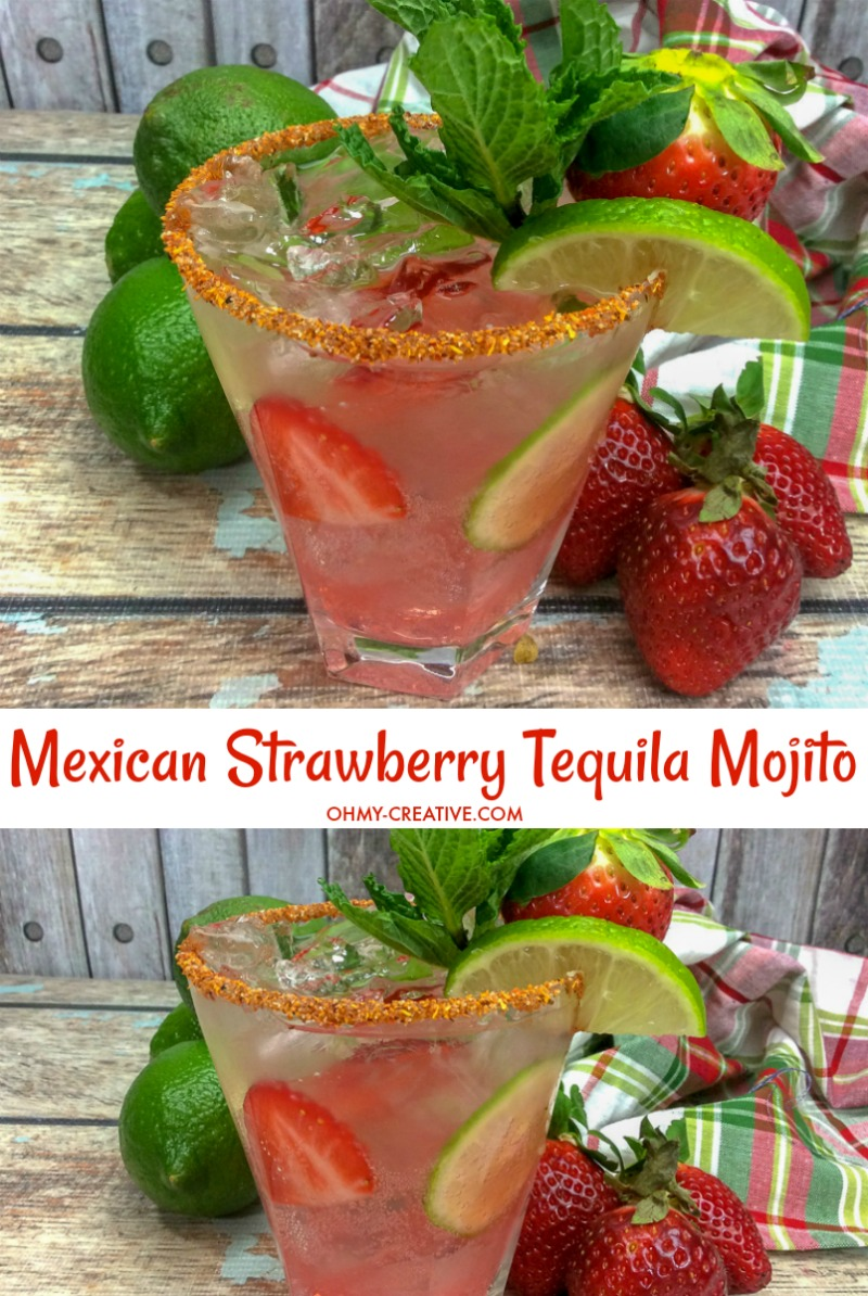 Mexican Strawberry Tequila Mojito | OHMY-CREATIVE.COM | How to make a mojito | Best mojito recipe| Mojito Cocktail Recipe | Mojito Recipe | Tequila Cocktails | Mojito Ingredients | Easy Tequila Drinks #mojito #cincodemayo #tequila #cocktail