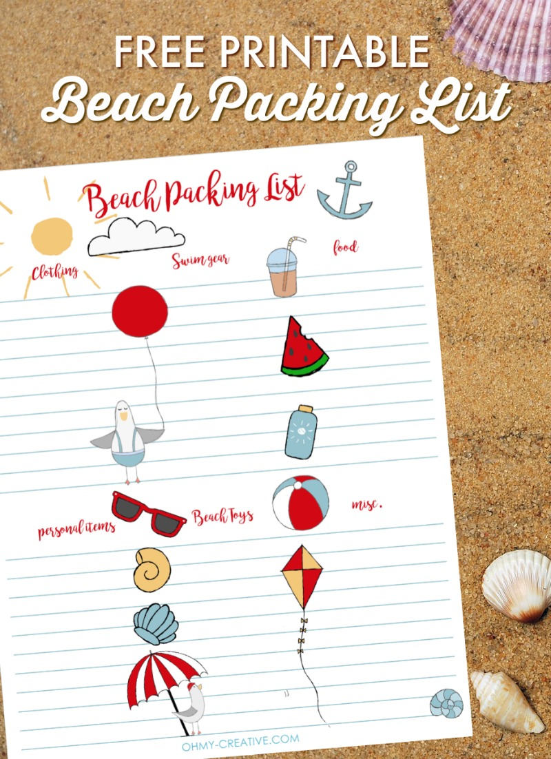 personalized beach packing list printable oh my creative