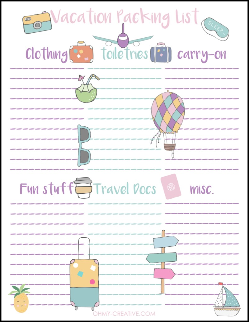 This Vacation Packing List free printable is perfect as you prepare for your upcoming travels! OHMY-CREATIVE.COM | Travel Packing List | Vacation List | Printable Travel Packing List | Packing List #vacation #packinglist #travel #printable