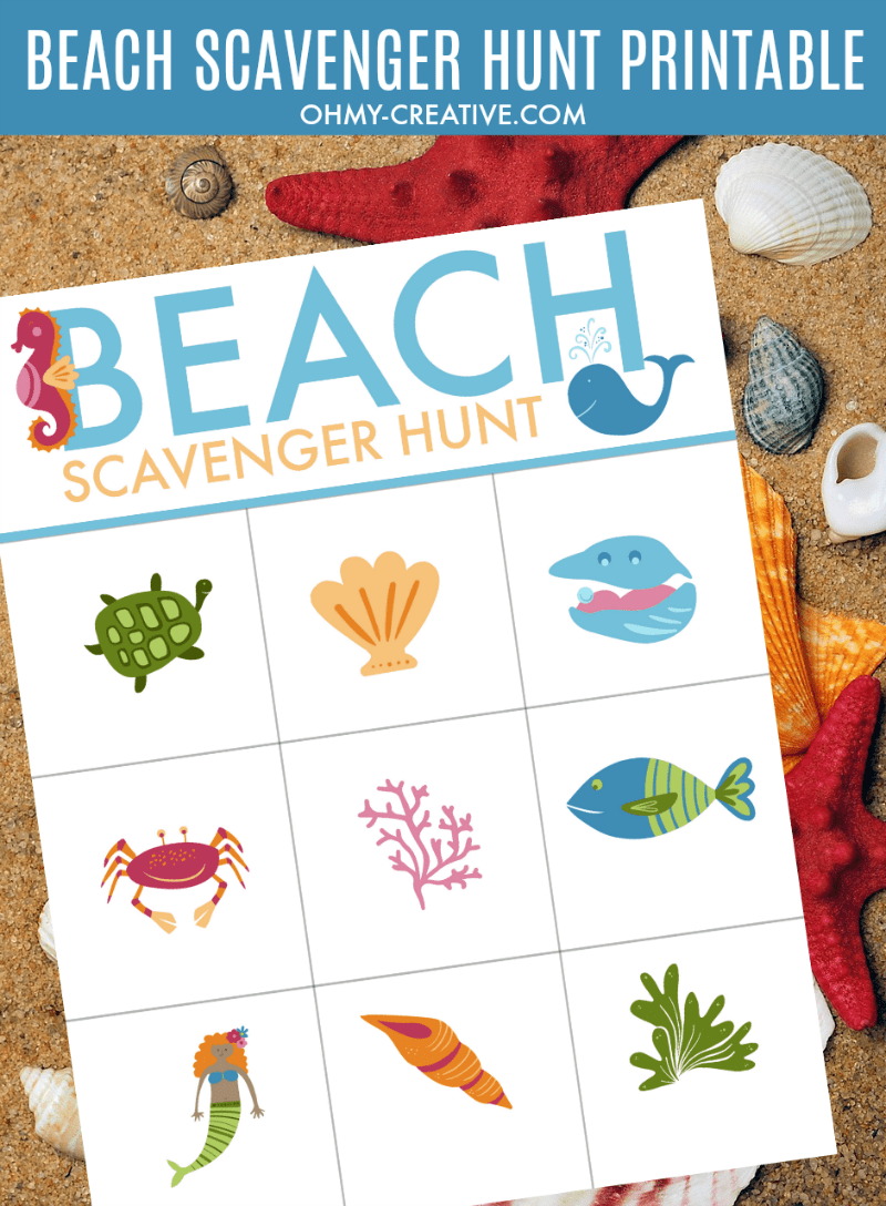 Beach Scavenger Hunt Free Printable - Oh My Creative