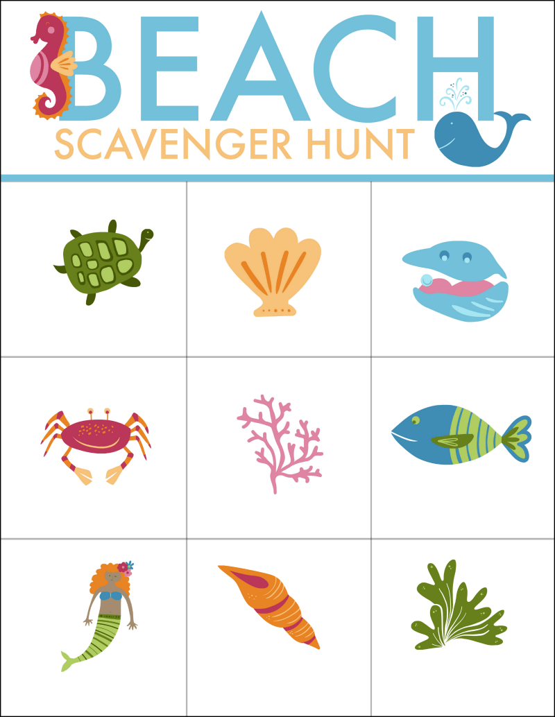 picture regarding Beach Printable identified as Seaside Scavenger Hunt Totally free Printable - Oh My Innovative