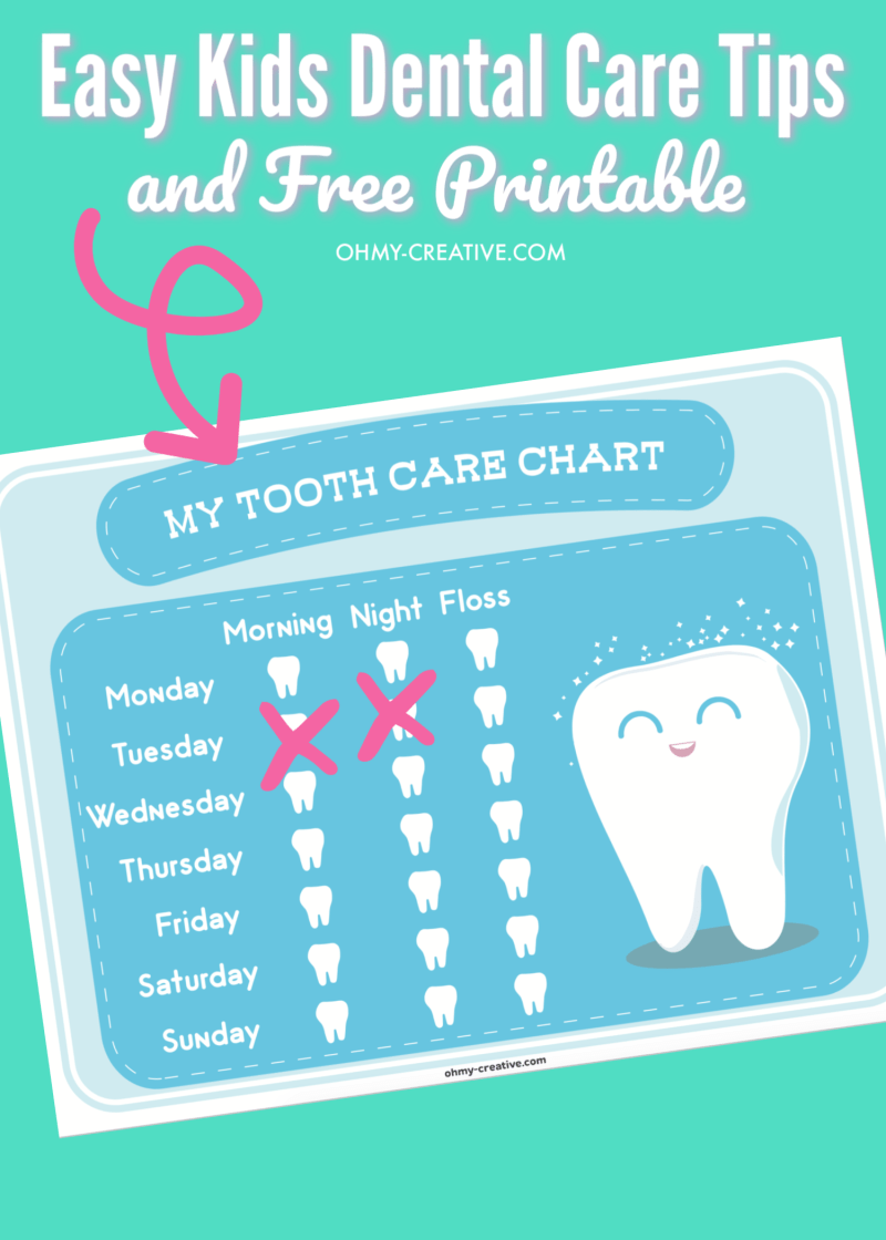 Are you fighting the daily struggle to get the kids to brush their teeth? Try these Easy Kids Dental Care Tips and Free Printable Tooth Care Chart! OHMY-CREATIVE.COM #teethbrushingtipsforkids #teethbrushingtipsfortoddlers #toothcarechart #toothcarechartprintable #kidsteethbrushing #teethbrushingchart