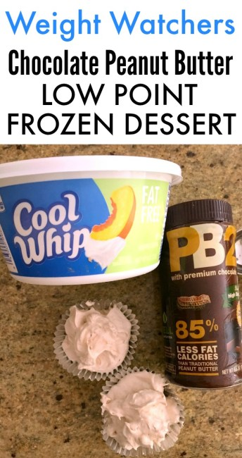 This Weight Watchers Chocolate PB2 Cool Whip Low Point Dessert is a delicious frozen SmartPoint treat. Easy to make and an easy Weight Watchers Cool Whip recipe! | OHMY-CREATIVE.COM | Peanut Butter Cool Whip Mousse | Peanut Butter and Cool Whip Dessert | #pb2coolwhip #weightwatchersdessert #weightwatcherscoolwhipdessert #weightwatchers #weightwatchersrecipe #smartpoints #coolwhip