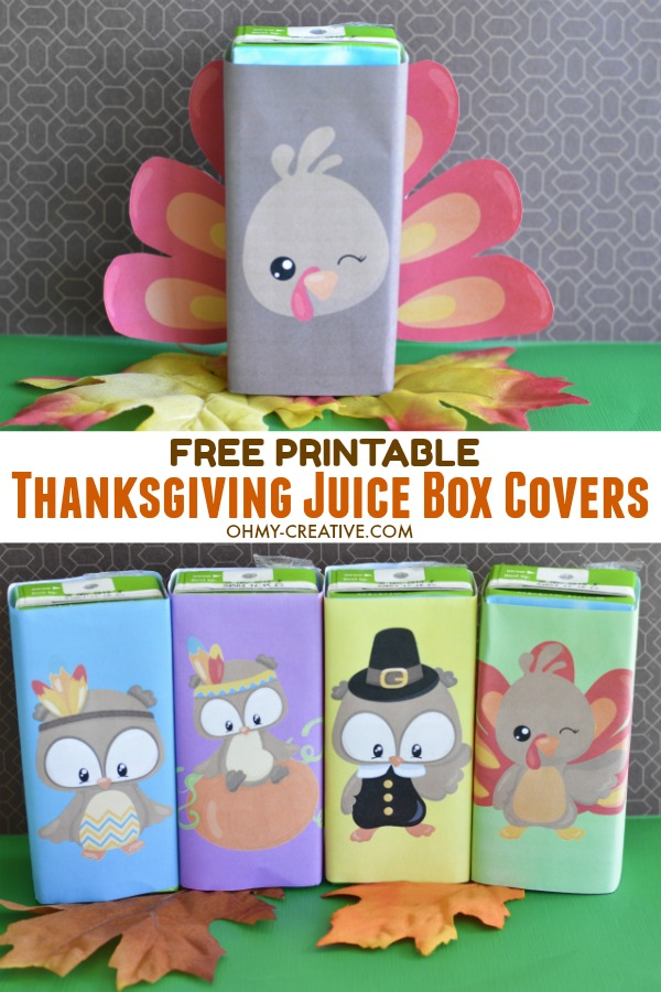 Decorate the kids table at Thanksgiving with these Free Printable Thanksgiving Juice Box Covers - the kids will love them! OHMY-CREATIVE.COM | #thanksgiving #thanksgivingkidstable #thanksgivingprintables #juiceboxcovers