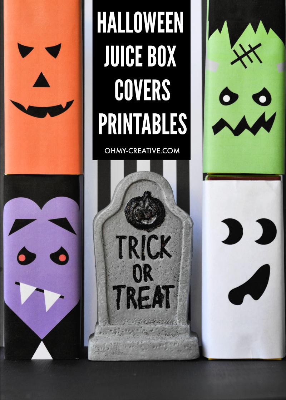 Cute Halloween Juice Box Covers Free Printable