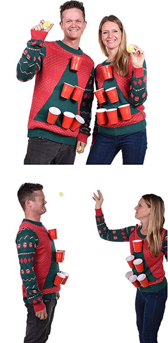 10 Of The Best Couples Ugly Christmas Sweaters - Beer Pong Ugly Christmas Sweaters