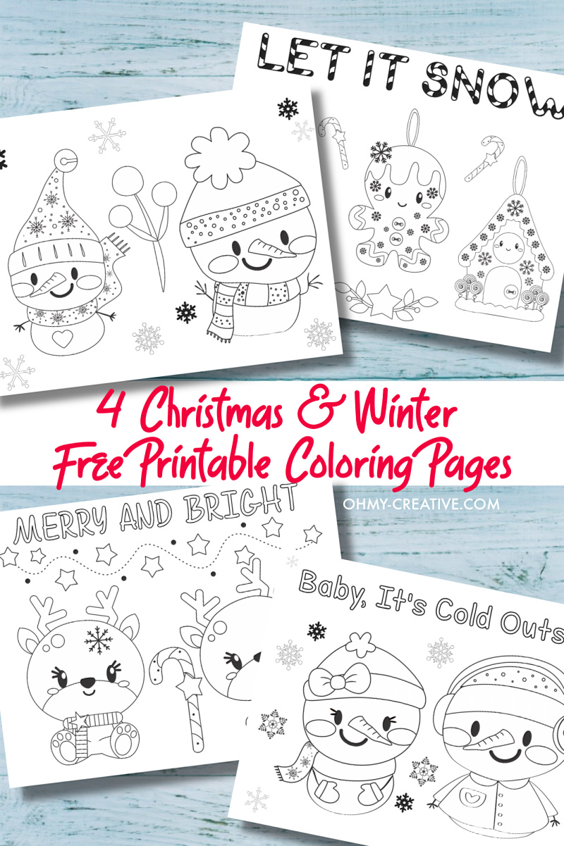 - 4 Free Printable Kids Christmas Coloring Pages PDF - Oh My Creative