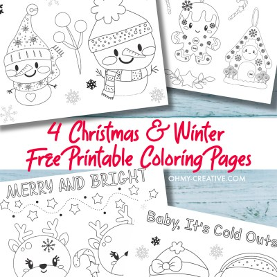4 Free Printable Kids Christmas Coloring Pages PDF