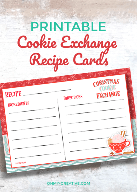 It's easy to share the cookie recipe using these Free Printable Cookie Exchange Recipe Cards along with your yummy holiday cookies! Quick and easy to print! OHMY-CREATIVE.COM | #cookieexchange #printablerecipecard #christmasprintables #cookieexchangerecipecard #freechristmasprintables